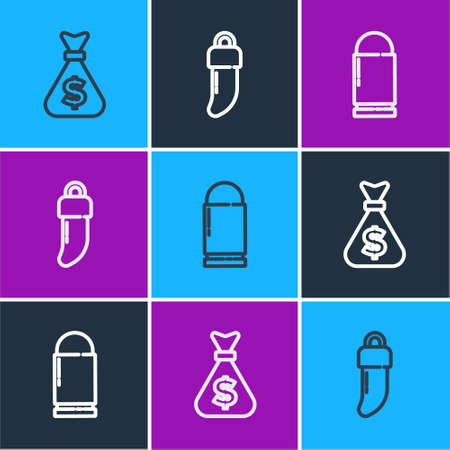 Set line Money bag, Bullet and Tooth icon. Vector