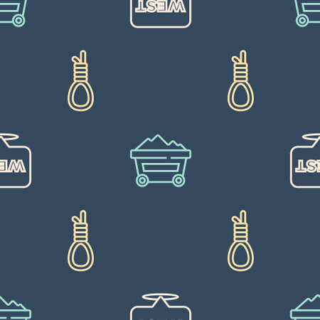 Set line Pointer to wild west, Gallows rope loop hanging and Coal mine trolley on seamless pattern. Vector