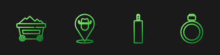 Set line Dynamite bomb, Coal mine trolley, Location cowboy and Canteen water bottle. Gradient color icons. Vector 矢量图像