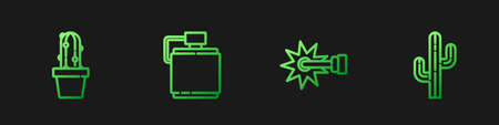 Set line Spur, Cactus peyote in pot, Canteen water bottle and . Gradient color icons. Vector