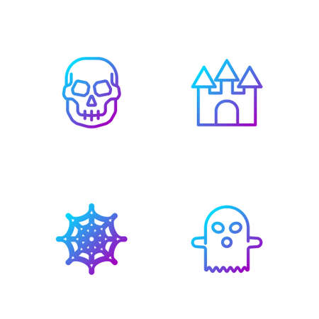 Set line Ghost, Spider web, Skull and Castle. Gradient color icons. Vector 矢量图像