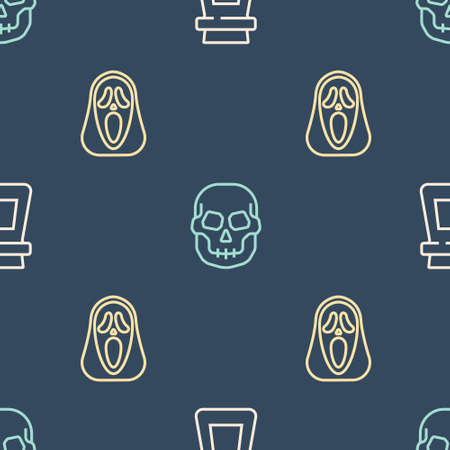 Set line Bottle with potion, Funny and scary ghost mask and Skull on seamless pattern. Vector