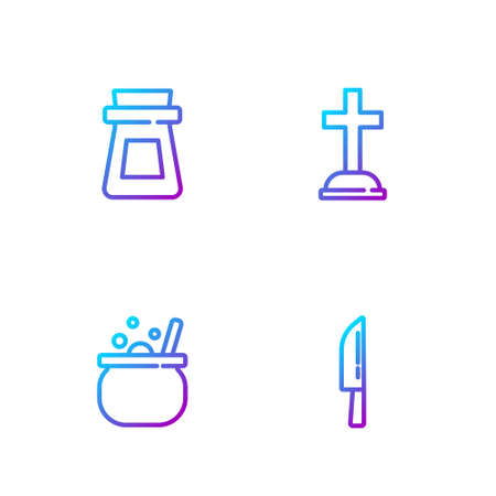 Set line Knife, Halloween witch cauldron, Bottle with potion and Tombstone cross. Gradient color icons. Vector