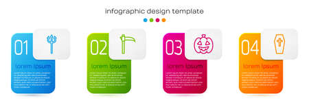 Set line Neptune Trident, Scythe, Pumpkin and Coffin with cross. Business infographic template. Vector