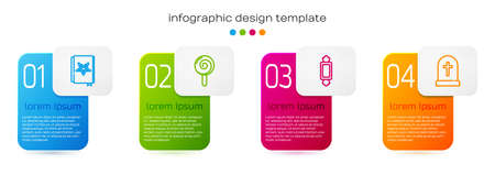 Set line Ancient magic book, Lollipop, Candy and Tombstone with cross. Business infographic template. Vector Vettoriali