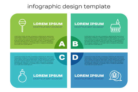 Set line Bomb ready to explode, Lollipop, Pumpkin and Castle. Business infographic template. Vector
