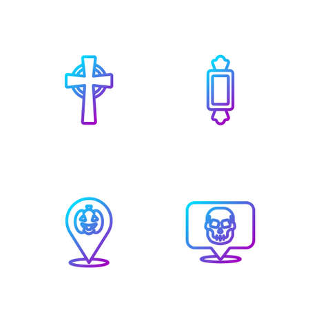 Set line Skull, Pumpkin, Tombstone with cross and Candy. Gradient color icons. Vector
