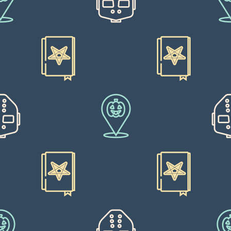 Set line Hockey mask, Ancient magic book and Pumpkin on seamless pattern. Vector Vettoriali