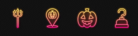 Set line Pumpkin, Neptune Trident, and Pirate hook. Glowing neon icon. Vector