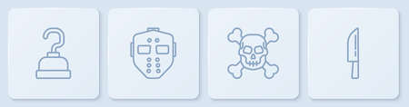Set line Pirate hook, Skull on crossbones, Hockey mask and Knife. White square button. Vector