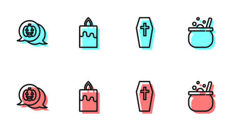 Set line Coffin with cross, Pumpkin, Burning candle and Halloween witch cauldron icon. Vector 矢量图像