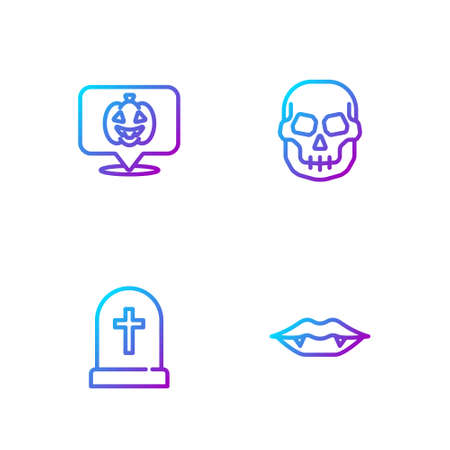 Set line Vampire teeth, Tombstone with cross, Pumpkin and Skull. Gradient color icons. Vector