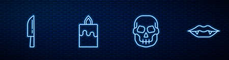 Set line Skull, Knife, Burning candle and Vampire teeth. Glowing neon icon on brick wall. Vector