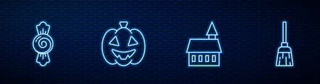 Set line Castle, Candy, Pumpkin and Witches broom. Glowing neon icon on brick wall. Vector