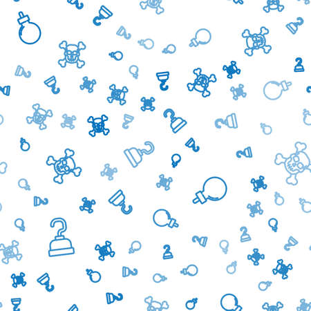 Set line Pirate hook, Bomb ready to explode and Skull on crossbones on seamless pattern. Vector 矢量图像