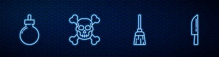 Set line Witches broom, Bomb ready to explode, Skull on crossbones and Knife. Glowing neon icon on brick wall. Vector
