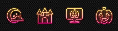 Set line Pumpkin, Moon and stars, Castle and . Glowing neon icon. Vector