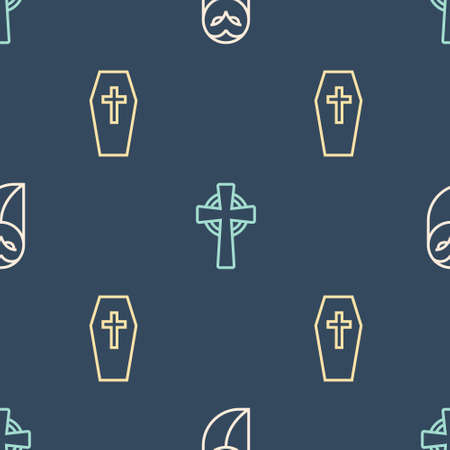 Set line Owl, Coffin with cross and Tombstone on seamless pattern. Vector