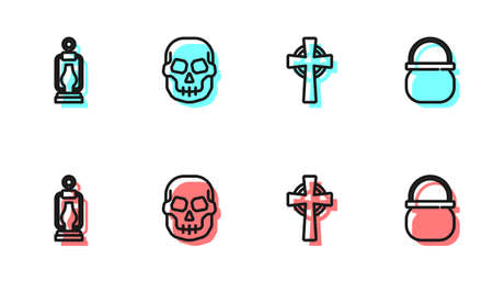 Set line Tombstone with cross, Camping lantern, Skull and Halloween witch cauldron icon. Vector