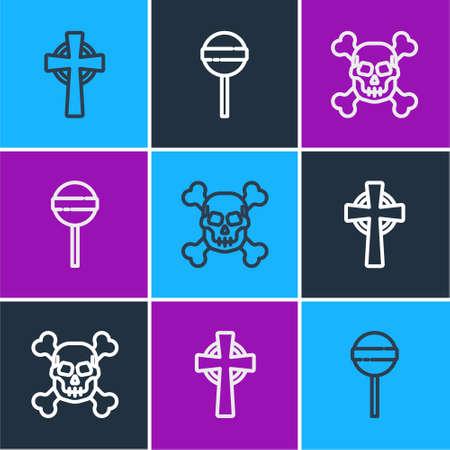 Set line Tombstone with cross, Skull crossbones and Lollipop icon. Vector 矢量图像