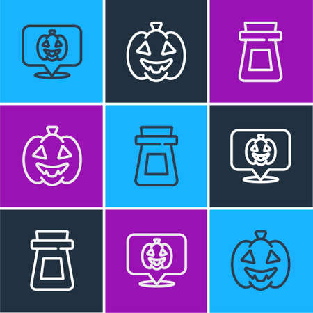 Set line Pumpkin, Bottle with potion and icon. Vector