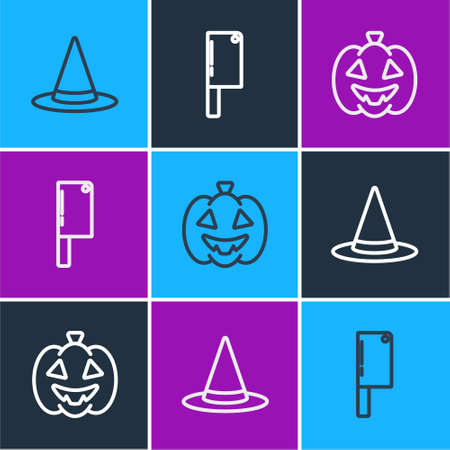 Set line Witch hat, Pumpkin and Meat chopper icon. Vector 矢量图像