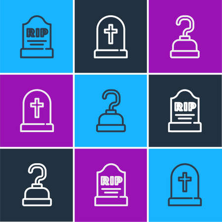 Set line Tombstone with RIP written, Pirate hook and cross icon. Vector