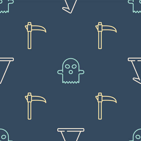 Set line Witch hat, Scythe and Ghost on seamless pattern. Vector