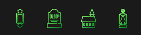 Set line Castle, Candy, Tombstone with RIP written and Camping lantern. Gradient color icons. Vector