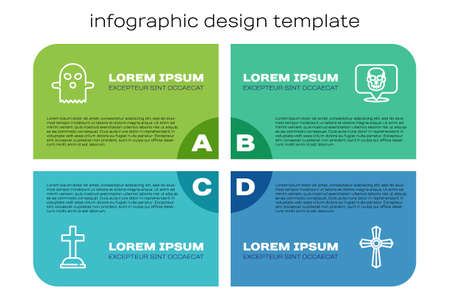 Set line Tombstone with cross, Ghost, and Skull. Business infographic template. Vector