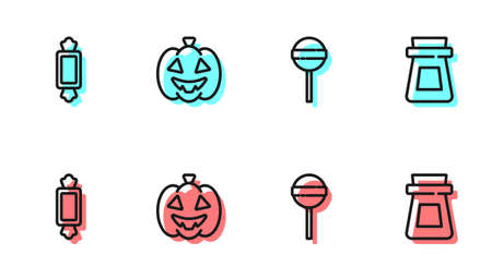 Set line Lollipop, Candy, Pumpkin and Bottle with potion icon. Vector