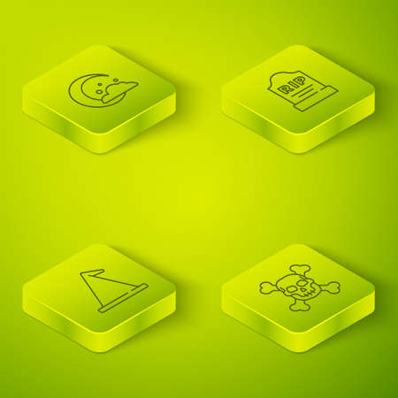 Set Isometric Tombstone with RIP written, Witch hat, Skull crossbones and Moon and stars icon. Vector