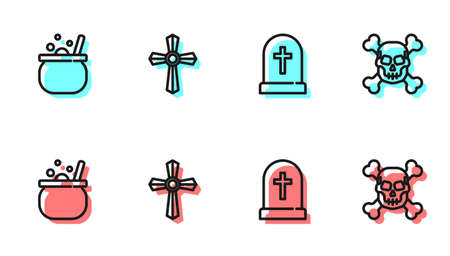 Set line Tombstone with cross, Halloween witch cauldron, and Skull crossbones icon. Vector