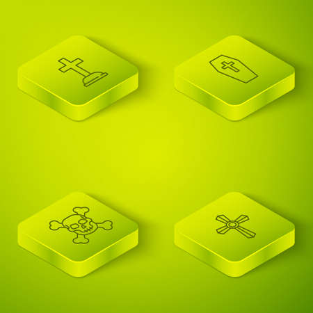 Set Isometric Coffin with cross, Skull on crossbones, Tombstone and icon. Vector
