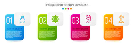 Set line Bomb ready to explode, Spider web, Owl and Tombstone with cross. Business infographic template. Vector