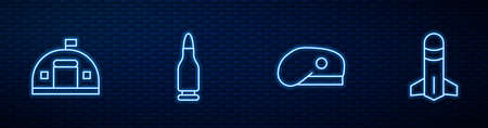Set line Military beret, barracks, Bullet and Rocket. Glowing neon icon on brick wall. Vector