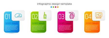 Set line Military beret, Walkie talkie, Hand grenade and headquarters. Business infographic template. Vector 向量圖像