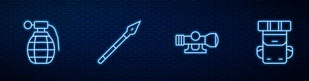 Set line Sniper optical sight, Hand grenade, Medieval spear and Hiking backpack. Glowing neon icon on brick wall. Vector