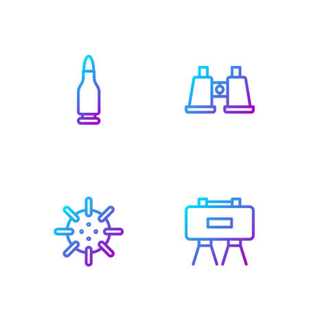 Set line Military mine, Naval, Bullet and Binoculars. Gradient color icons. Vector