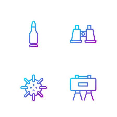 Set line Military mine, Naval, Bullet and Binoculars. Gradient color icons. Vector 版權商用圖片 - 157589593