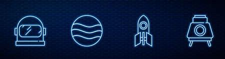 Set line Rocket ship, Astronaut helmet, Planet and Mars rover. Glowing neon icon on brick wall. Vector Ilustração