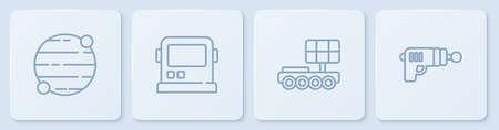 Set line Planet, Mars moonwalker, Astronaut helmet and Ray gun. White square button. Vector