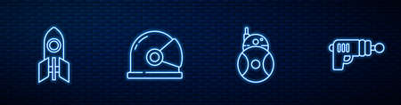 Set line Robot, Rocket ship, Astronaut helmet and Ray gun. Glowing neon icon on brick wall. Vector Ilustração