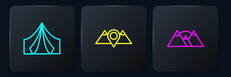 Set line Tourist tent, Mountains and Location mountains. Black square button. Vector