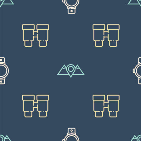 Set line Smartwatch, Binoculars and Location mountains on seamless pattern. Vector