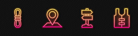 Set line Road traffic signpost, Climber rope, Location and Life jacket. Glowing neon icon. Vector