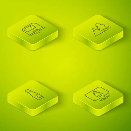 Set Isometric line Mountains with tree, Bottle of water, Location the forest and Rv Camping trailer icon. Vector