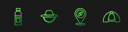 Set line Compass, Bottle of water, Camping hat and Tourist tent. Gradient color icons. Vector