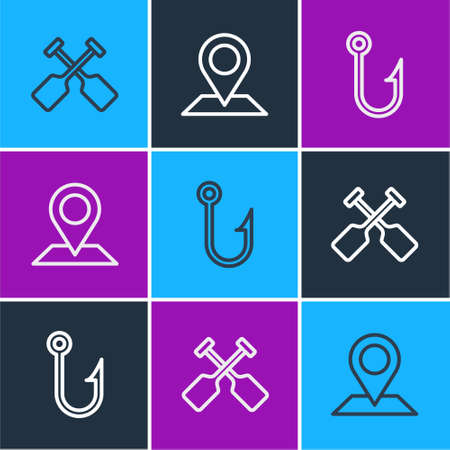 Set line Paddle, Fishing hook and Location icon. Vector  イラスト・ベクター素材