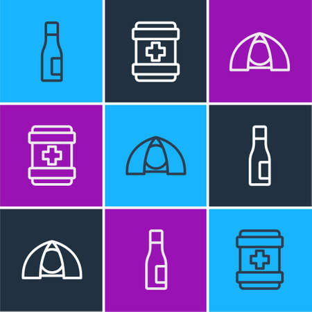 Set line Bottle of water, Tourist tent and First aid kit icon. Vector 矢量图像